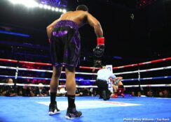 """Shakur Stevenson - Ever since he turned pro following the 2016 Olympics, featherweight contender Shakur Stevenson wanted to return home to Newark. In front of 5,150 fans at Prudential Center, Stevenson, the WBO No. 1 contender, knocked out two-time world title challenger Alberto """"Metro"""" Guevara (27-5, 12 KOs) in the third round of a scheduled 10-rounder."""