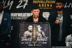 """Gervonta """"Tank"""" Davis, Jezzrel """"El Invisible"""" Corrales, Ladarius """"Memphis"""" Miller, Ricardo """"Científico"""" Núñez, Roman 'Rocky' Martinez, Yuriorkis Gamboa - Two-time super featherweight champion and Baltimore native Gervonta """"Tank"""" Davis went face to face with mandatory challenger Ricardo Núñez Thursday at the final press conference before Davis defends his WBA title in his hometown this Saturday from Royal Farms Arena in an event presented by Premier Boxing Champions."""