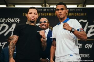 """Gervonta """"Tank"""" Davis - Two-time super featherweight champion and Baltimore native Gervonta """"Tank"""" Davis went face to face with mandatory challenger Ricardo Núñez Thursday at the final press conference before Davis defends his WBA title in his hometown this Saturday from Royal Farms Arena in an event presented by Premier Boxing Champions."""