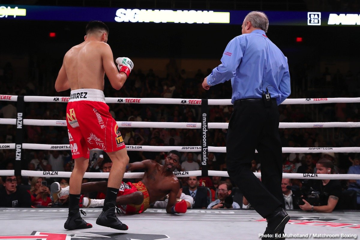 In an exciting fight from start to finish,WBC light welterweight champion Jose Carlos Ramirez (25-0, 17 KOs) used his powerful hooks to stop WBO 140 pound champion Maurice Hooker (26-1-3, 17 KOs) in the the sixth round in their much anticipated fight on DAZN at the College Park Center, Arlington.
