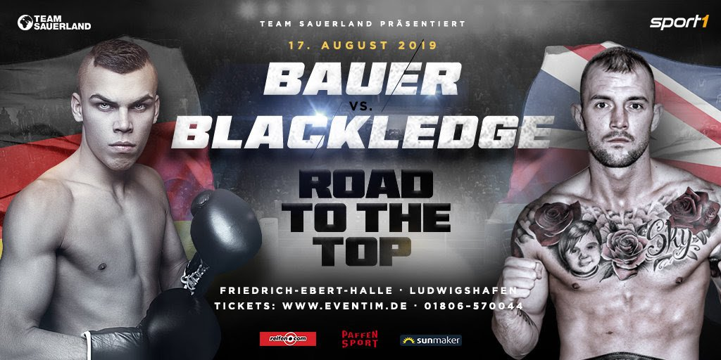 Leon Bauer - Leon Bauer (16-0-1, 9 KOs) will face his toughest career test on August 17 as the rising German star takes on experienced English boxer Luke Blackledge (26-7-2, 9 KOs) at the Friedrich-Ebert-Halle in Ludwigshafen, Germany.