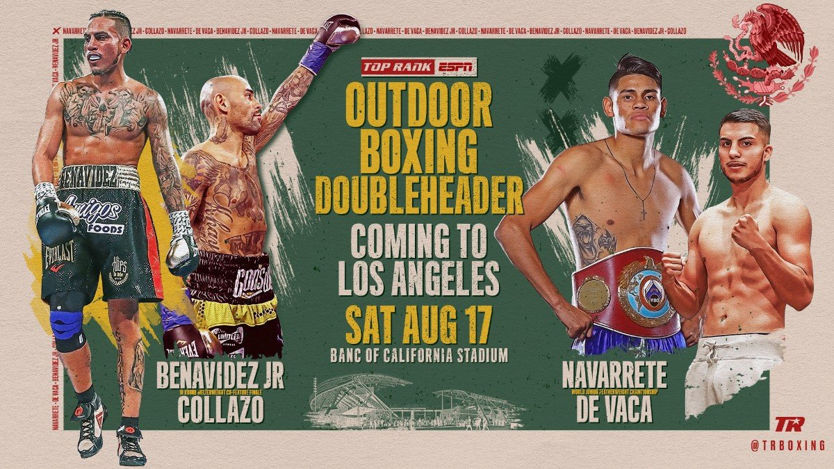 Luis Collazo - The soccer field will become a fistic battleground Saturday, August 17, as Jose Benavidez Jr. will battle former world champion Luis Collazo in a 10-round welterweight co-feature at Banc of California Stadium, the home of Major League Soccer's Los Angeles FC.
