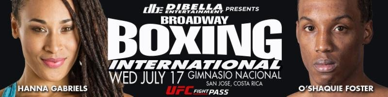 """Hanna Gabriels - WBA Super Welterweight Women's World Champion Hanna """"La Amazona Black"""" Gabriels (19-2-1, 11 KOs) returns home Tomorrow, Wednesday night, July 17 to defend her world title against undefeated contender Abril Vidal (8-0, 3 KOs), of Neuquen, Argentina. The world title defense held at the Gimnasio Nacional in San Juan, Costa Rica, will headline an outstanding four-bout international edition of DiBella Entertainment's Broadway Boxing live streaming exclusively on UFC FIGHT PASS®, the world's leading digital subscription service for combat sports, beginning at 8:00 p.m. ET/5:00 p.m. PT. Broadway Boxing is presented by Nissan of Queens, Azad Watches, OPTYX, Christos Steak House and Gagliardi Insurance."""