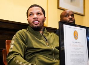 """Gervonta """"Tank"""" Davis - WBA Super Featherweight World Champion and Baltimore native Gervonta """"Tank"""" Davis was honored in his hometown Wednesday as Baltimore Mayor Bernard C. """"Jack"""" Young presented him with the Key to the City at a ceremony at City Hall. Davis becomes the first world champion from Baltimore to make a homecoming title defense in nearly 80 years this Saturday night live on SHOWTIME against Ricardo Núñez from Royal Farms Arena."""