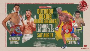 "Jessie Magdaleno - Former junior featherweight world champion Jessie Magdaleno will take on Rafael Rivera in a 10-round featherweight clash Saturday, Aug. 17 at Banc of California Stadium. The Magdaleno-Rivera fight will be the co-feature underneath Emanuel Navarrete's WBO junior featherweight world title defense against Francisco ""Panchito"" De Vaca."
