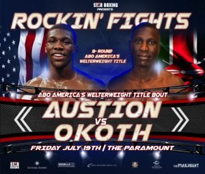 """- Star Boxing """"Rockin' Fights"""" has added a regional undercard title fight to the July 19 event at the Paramount.   Heralded amateur Detroit, Michigan native, RONNIE """"TEFLON RON"""" AUSTION will fight ABO America's Welterweight Champ, DENNIS """"BILLABONG"""" OKOTH for Okoth's title."""