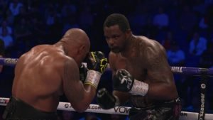 Oscar Rivas - Dillian Whyte (26-1, 18 KOs) survived a knockdown scare in the ninth to cruise to a 12 round unanimous decision victory against Oscar Rivas (26-1, 18 KOs) in a fight for the interim World Boxing Council heavyweight title n Saturday night on DAZN and Sky Box Office at The O2 Arena in Las Vegas, Nevada.