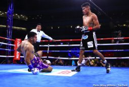 "Emanuel Navarrete, Francisco De Vaca, Jessie Magdaleno, Rafael Rivera - Emanuel Navarrete was already a champion. He is now one of the sport's elite. Navarrete knocked out the previously unbeaten Francisco ""Panchito"" De Vaca in three rounds Saturday evening in front of 3,944 fans in the first-ever boxing card at Banc of California Stadium."