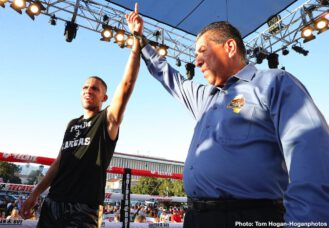 Daniel Evangelista, Ferdinand Kerobyan - The Oscar De La Hoya Foundation presented a spectacular night of professional boxing today at Pasadena City Hall to give back to the community. The proceeds from the public event will go towards the Foundation to help support programs that will benefit the youth and community of Pasadena.