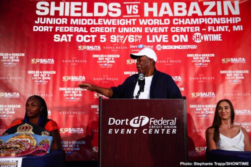 Claressa Shields, Ivana Habazin - Undisputed middleweight champion Claressa Shields and former world champion Ivana Habazin squared-off and exchanged words at a pair of press conferences in Flint and Detroit on Wednesday, as they previewed their battle for the WBO Junior Middleweight World Championship taking place Saturday, October 5 live on SHOWTIME from Dort Federal Event Center in Flint, Mich.