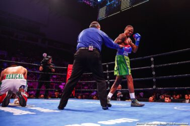 "Brandon Figueroa, Javier Nicolas Chacon - Unbeaten interim WBA Super Bantamweight champion Brandon ""The Heartbreaker"" Figueroa (20-0, 15 KOs)gave his hometown fans a knockout victory to celebrate Saturday night as he stopped Javier Nicolas Chacon (29-5-1, 9 KOs)in round four of the main event of FS1 PBC Fight Night and on FOX Deportes from Bert Ogden Arena in Edinburg, Texas."
