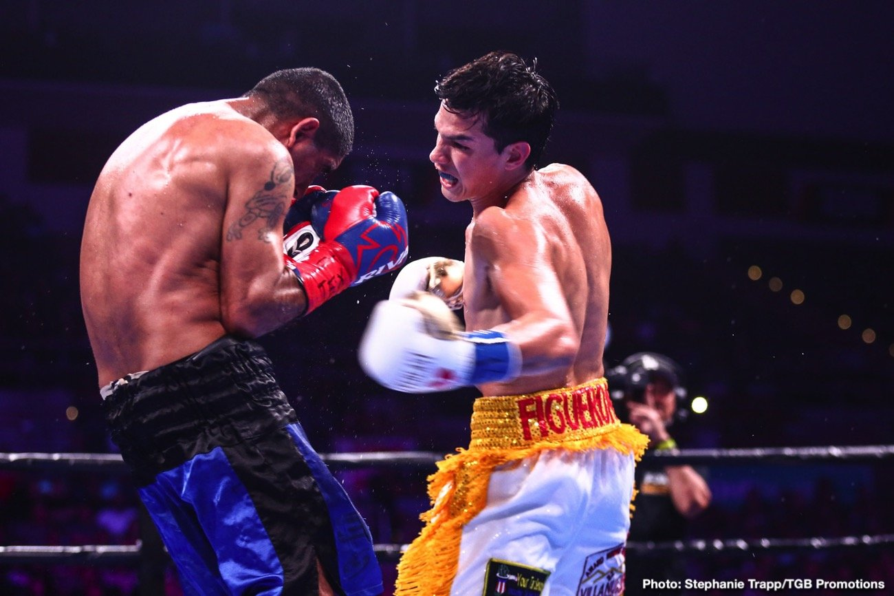 "Unbeaten interim WBA Super Bantamweight champion Brandon ""The Heartbreaker"" Figueroa (20-0, 15 KOs)gave his hometown fans a knockout victory to celebrate Saturday night as he stopped Javier Nicolas Chacon (29-5-1, 9 KOs)in round four of the main event of FS1 PBC Fight Night and on FOX Deportes from Bert Ogden Arena in Edinburg, Texas."