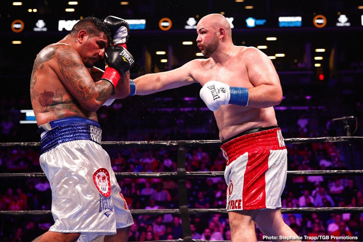 Adam Kownacki, Chris Arreola - Heavyweight warriors Adam Kownacki and Chris Arreola gave it their all last night in New York, in so doing thrilling us fans with a genuine Fight Of The Year candidate. The pace, for two big men who both came in over the 240 pound mark (Kownacki raising a few eyebrows by tipping-in at a career-heavy 266), was incredible, the punch output of both guys even more so. In fact the Pole and the Mexican/American set a punch-stat record last night, with an astonishing 2,000-plus punches being thrown; most of which landed.
