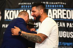 """Adam Kownacki, Chris Arreola, Curtis Stevens, Jean Pascal, Marcus Browne - Unbeaten Polish star Adam Kownacki and former title challenger Chris """"The Nightmare"""" Arreola went face to face at Thursday's final press conference, two days before they meet in a heavyweight showdown headlining FOX PBC Fight Night this Saturday live on FOX and FOX Deportes from Barclays Center, the home of BROOKLYN BOXING™."""