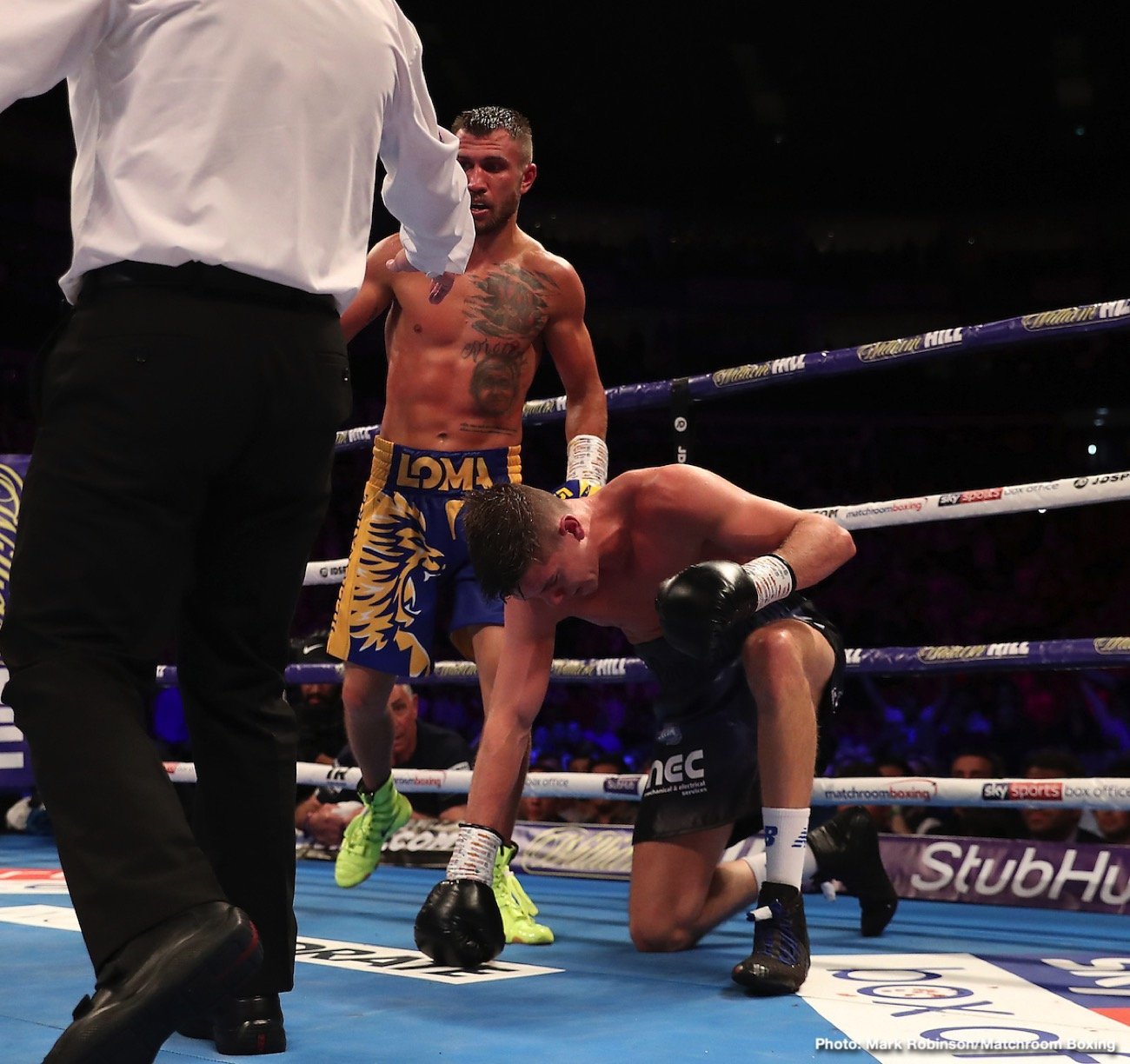 Vasily Lomachenko - Vasiliy Lomachenko was presented with quite the test from British challenger Luke Campbell. But after 12 rounds, it was the Pound-for-Pound Picasso who prevailed, scoring a unanimous decision (119-108 2X and 118-109) over Campbell to retain his WBA/WBO lightweight titles and pick up the vacant WBC title in front of a sold-out crowd at the O2 Arena