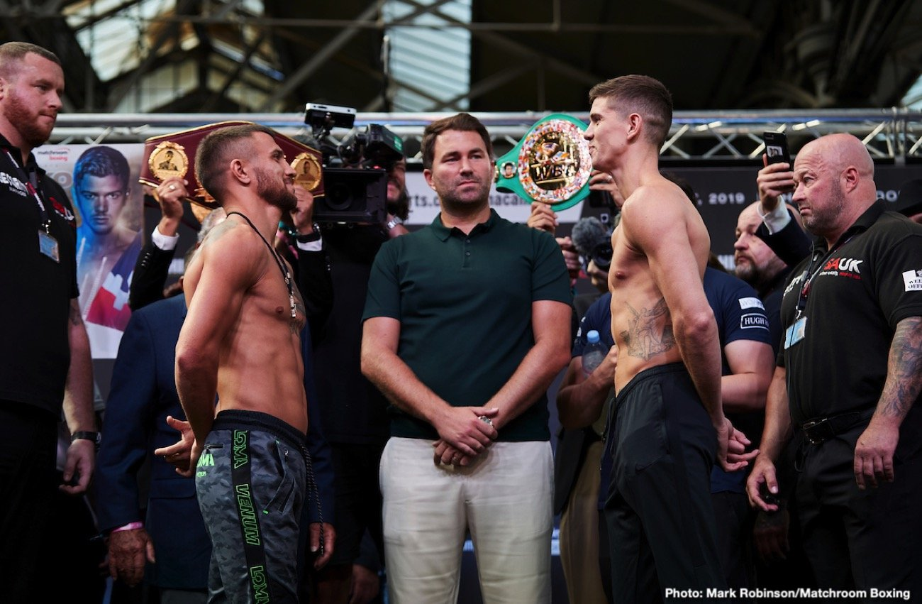 Luke Campbell, Vasyl Lomachenko - Vasiliy Lomachenko takes his 'Hi-Tech' skills on the road at O2 Arena in London against Gold Medalist Luke Campbell this Saturday on ESPN+. The co-feature matches Alexander Povetkin and Hugie Fury in what could be a competitive contest. An abundance of amateur pedigree will be on display in a lightweight title bout featuring two former Gold Medal winners of course Lomachenko won Olympic top-billing twice. The Southpaw versus southpaw matching gives Luke a potential to give Lomachenko a few looks he may not be used to on a regular basis. Unfortunately for Campbell the same could be said for Loma.
