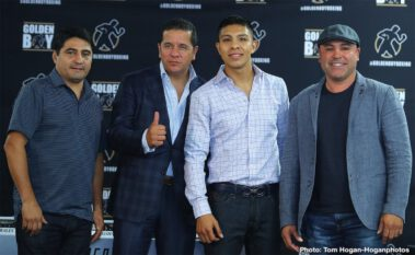 """Avery Sparrow, Jaime Munguia, Oscar De La Hoya, Patrick Allotey, Ryan Garcia - Jaime Munguia (33-0, 26 KOs) of Tijuana, Mexico hosted a press conference today at the Golden Boy Headquarters in Los Angeles, Calif. ahead of the 12-round defense of his WBO Junior Middleweight World Title against African warrior Patrick Allotey (40-3, 30 KOs). He was joined by co-main event fighters Ryan """"Kingry"""" Garcia (18-0, 15 KOs) and Avery """"A-Plus"""" Sparrow (10-1, 3 KOs) who will battle in a 10-round lightweight fight. The event will take place on Saturday, Sept. 14 at Dignity Health Sports Park in Carson, Calif. and will be streamed live on DAZN."""