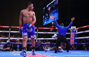 """Vergil Ortiz - Knockout artist Vergil Ortiz Jr. (14-0, 14 KOs) defeated Antonio """"Relentless"""" Orozco (28-2, 17 KOs) in the sixth round of their 12-round fight for the WBA Gold Welterweight Title. The event took place on Saturday, Aug. 10 at The Theatre at Grand Prairie in Texas and was streamed live on DAZN. Ortiz stopped Orozco at 2:16 of the aforementioned round."""