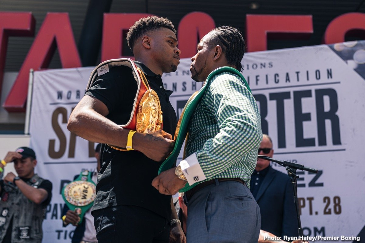 "IBF Welterweight World Champion Errol ""The Truth"" Spence Jr. and WBC Welterweight World Champion ""Showtime"" Shawn Porter went face to face Tuesday in Los Angeles at a press conference to preview their 147-pound championship unification that headlines a FOX Sports PBC Pay-Per-View on Saturday, September 28 from STAPLES Center in Los Angeles."