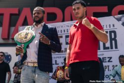 """Anthony Dirrell, David Benavidez, Errol Spence, John Molina, Josesito Lopez, Robert Guerrero, Shawn Porter - IBF Welterweight World Champion Errol """"The Truth"""" Spence Jr. and WBC Welterweight World Champion """"Showtime"""" Shawn Porter went face to face Tuesday in Los Angeles at a press conference to preview their 147-pound championship unification that headlines a FOX Sports PBC Pay-Per-View on Saturday, September 28 from STAPLES Center in Los Angeles."""