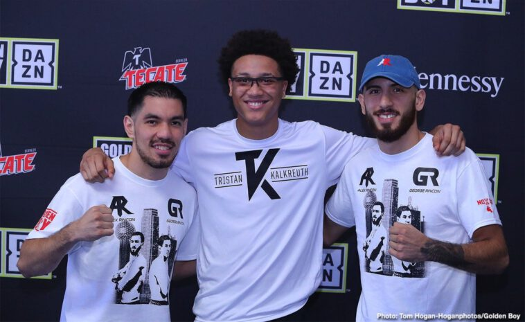 """Antonio Orozco, Hector Tanajara, Joshua Franco, Tristan Kalkrueth, Vergil Ortiz - Vergil Ortiz Jr. (13-0, 13 KOs) and Antonio """"Relentless"""" Orozco (28-1, 17 KOs) hosted a media workout today at the Irving Police Athletic League in Irving, Texas ahead of their 12-round battle. Their battle will take place on Saturday, Aug. 10 at The Theatre at Grand Prairie in Texas and will be streamed live on DAZN."""