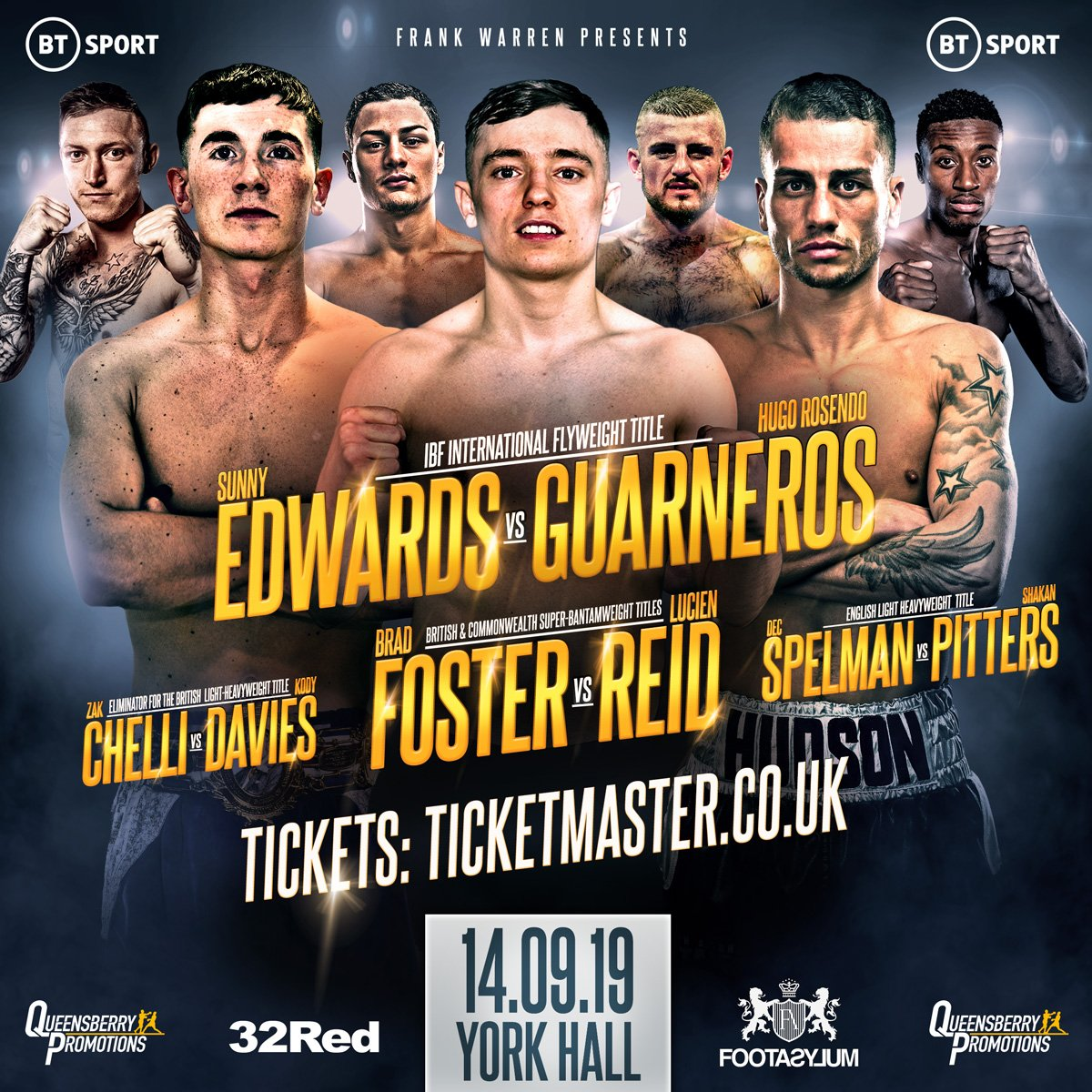 Sunny Edwards - FRANK WARREN and Queensberry Promotions return to York Hall on Saturday September 14 with a triple bill of title fights starring some of British boxing's finest prospects, live on BT Sport.