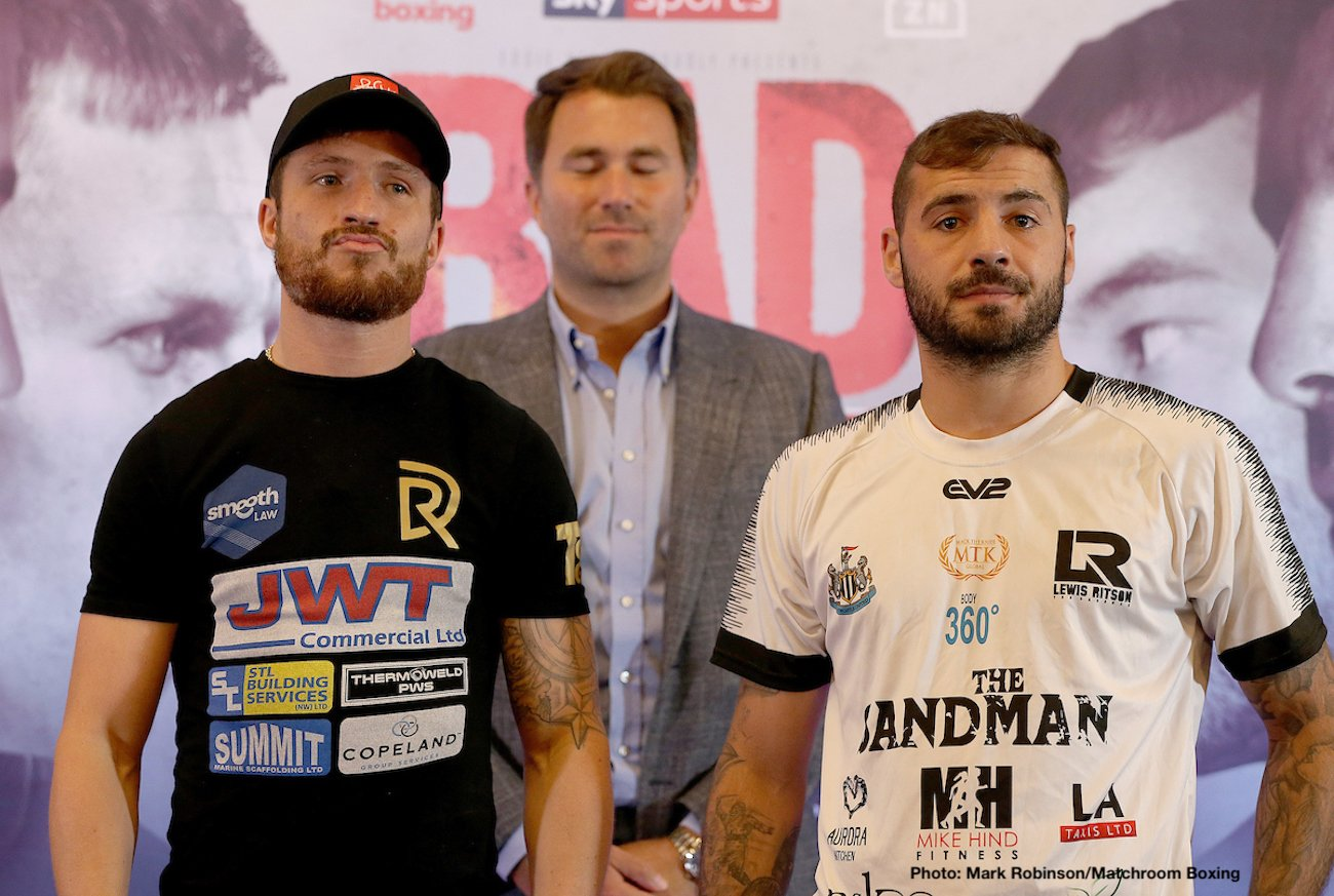 "Robbie Davies - Eddie Hearn: ""We are so pleased to be back here in Newcastle, this is a massive card and an official Eliminator for the WBA  Super-Lightweight World title between Robbie Davies Jr and Lewis Ritson. This is a massive opportunity for both men."