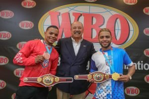 """Oscar Collazo - The World Boxing Organization (WBO), chaired by the Francisco """"Paco"""" Valcárcel, Esq. celebrated a special event to recognize Puerto Rican boxers Oscar """"El Pupilo"""" Collazo, and Yankiel """"Doctorcito"""" Rivera, for their achievements in the recently wrapped Pan American Games in Lima, Perú."""