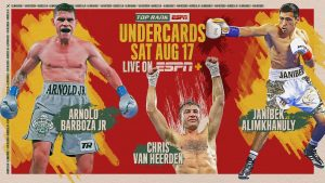 """Francisco De Vaca - Undefeated super lightweight contender Arnold Barboza Jr., South African welterweight contender Chris van Heerden and unbeaten middleweight prodigy Janibek Alimkhanuly will all see action in scheduled 10-rounders Saturday, Aug. 17 at Banc of California Stadium on the undercard of WBO junior featherweight world champion Emanuel Navarrete's title defense versus Francisco """"Panchito"""" De Vaca."""