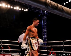 Diego Alberto Ruiz, Michael Conlan - Two-time Irish Olympian Michael Conlan (12-0, 7 KOs) stopped Argentinian Diego Alberto Ruiz (21-3, 10 KOs) in the ninth round in featherweight action on Saturday night on ESPN at the Marquee, Falls Park, in Belfast, Northern Ireland.