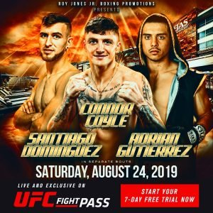 Connor Coyle - World-class professional boxing returns Saturday night, August 24, to Viejas Casino and Resort in Alpine, California, which is located about 30 miles from San Diego, with another exciting installment of RJJ Boxing on UFC FIGHT PASS.