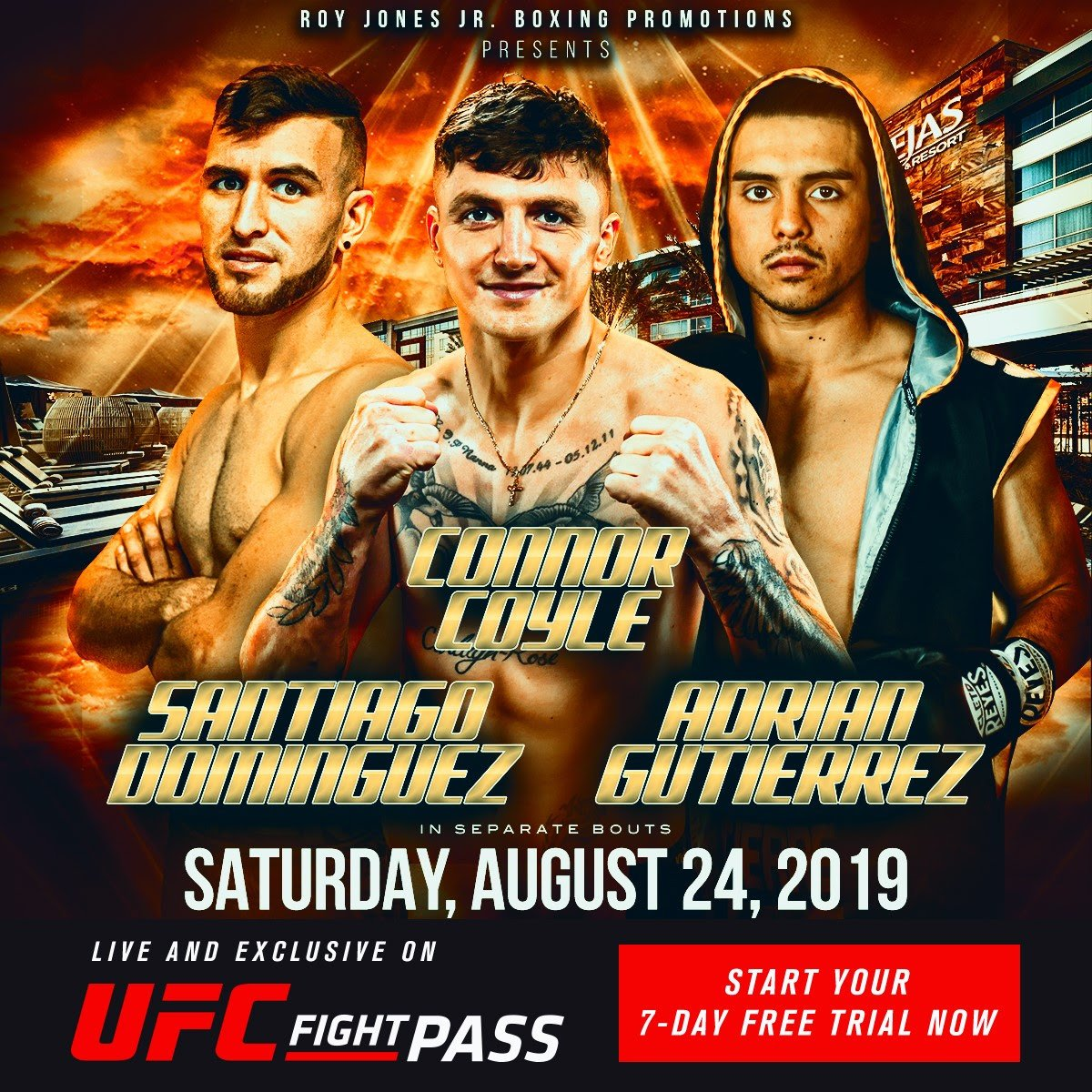 Connor Coyle, Rafael Ramon Ramirez - World-class professional boxing returns Saturday night, August 24, to Viejas Casino and Resort in Alpine, California, which is located about 30 miles from San Diego, with another exciting installment of RJJ Boxing on UFC FIGHT PASS.