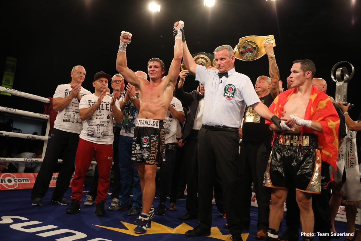 Cesar Nunez - Vincent Feigenbutz (31-2, 28 KOs) claimed the IBO International Super Middleweight title with an emphatic eight round TKO victory over the brave Cesar Nunez (16-1-1, 8 KOs) at the Friedrich-Ebert-Halle in Ludwigshafen, Germany.