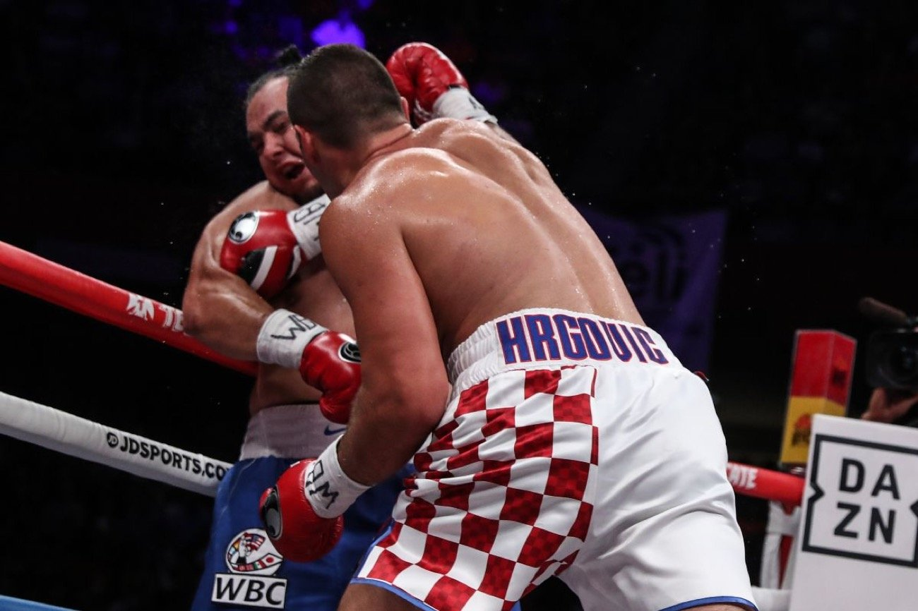 Filip Hrgovic, Mario Heredia - 'El Animal' Filip Hrgović (9-0, 7 KOs) brutally dismantled Mario Heredia (16-7-1, 13 KOs) earning a third round TKO victory at the Cum Hermosillo in Mexico, to defend his WBC International heavyweight title.