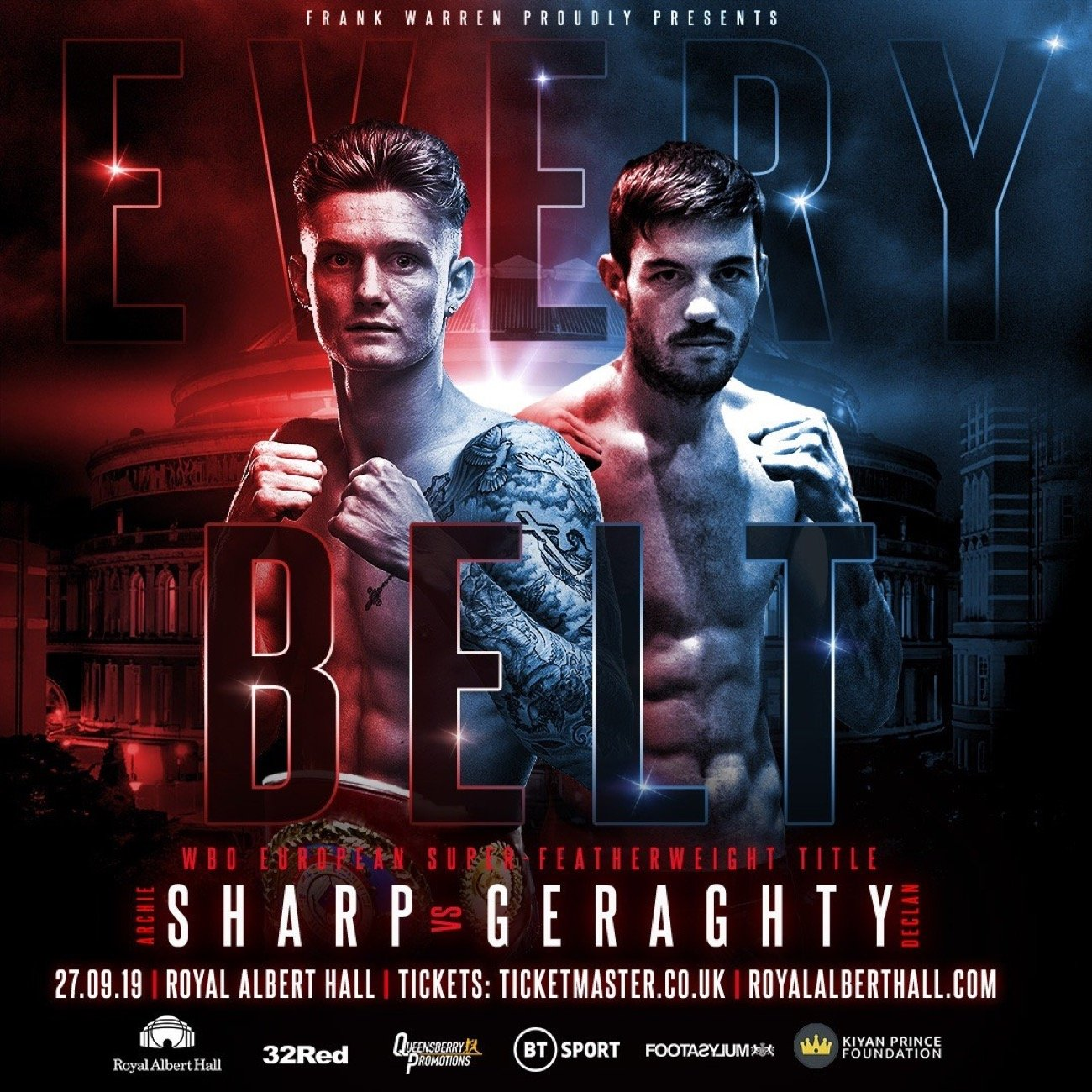 Archie Sharp - ARCHIE SHARP will defend his WBO European super featherweight title at the Royal Albert Hall on September 27 when he takes on the challenge from Declan 'Pretty Boy' Geraghty.