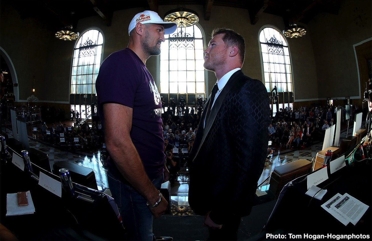 """Canelo Alvarez, Sergey Kovalev - Saul Canelo Alvarez (52-1-2, 35 KOs) of Guadalajara, Mexico and Russian warrior Sergey """"Krusher"""" Kovalev (34-3-1, 29 KOs) hosted a press conference today at Union Station in Los Angeles, Calif. to formally announce their 12-round fight for the WBO Light Heavyweight World Title. The event will take place on Saturday, Nov. 2 at the MGM Grand Garden Arena in Las Vegas and will be streamed live on DAZN."""