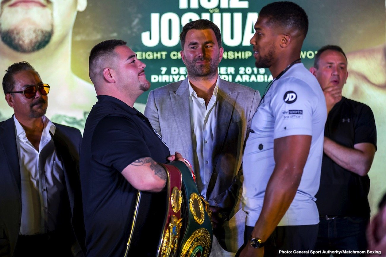 """Andy Ruiz, Anthony Joshua - Anthony Joshua OBE: """"Thank you all for your hospitality, to the people and the Kingdom of Saudi Arabia. I never thought that I would be fighting outside of London or America so it is a blessing and I am humbled to be here. With the fight, I feel that I was up against a good challenger at the time and I was only champion until June 1, as Andy is champion now, that will last until December 7 when he has to put his titles in the air and two warriors will go to war and the best man will walk out victorious. I am really looking forward to the challenge and I am glad the people here are supporting boxing. Some may support me, others may support Andy, but at the end of the day we are going to have a really good night of boxing and that is what we are all here for."""