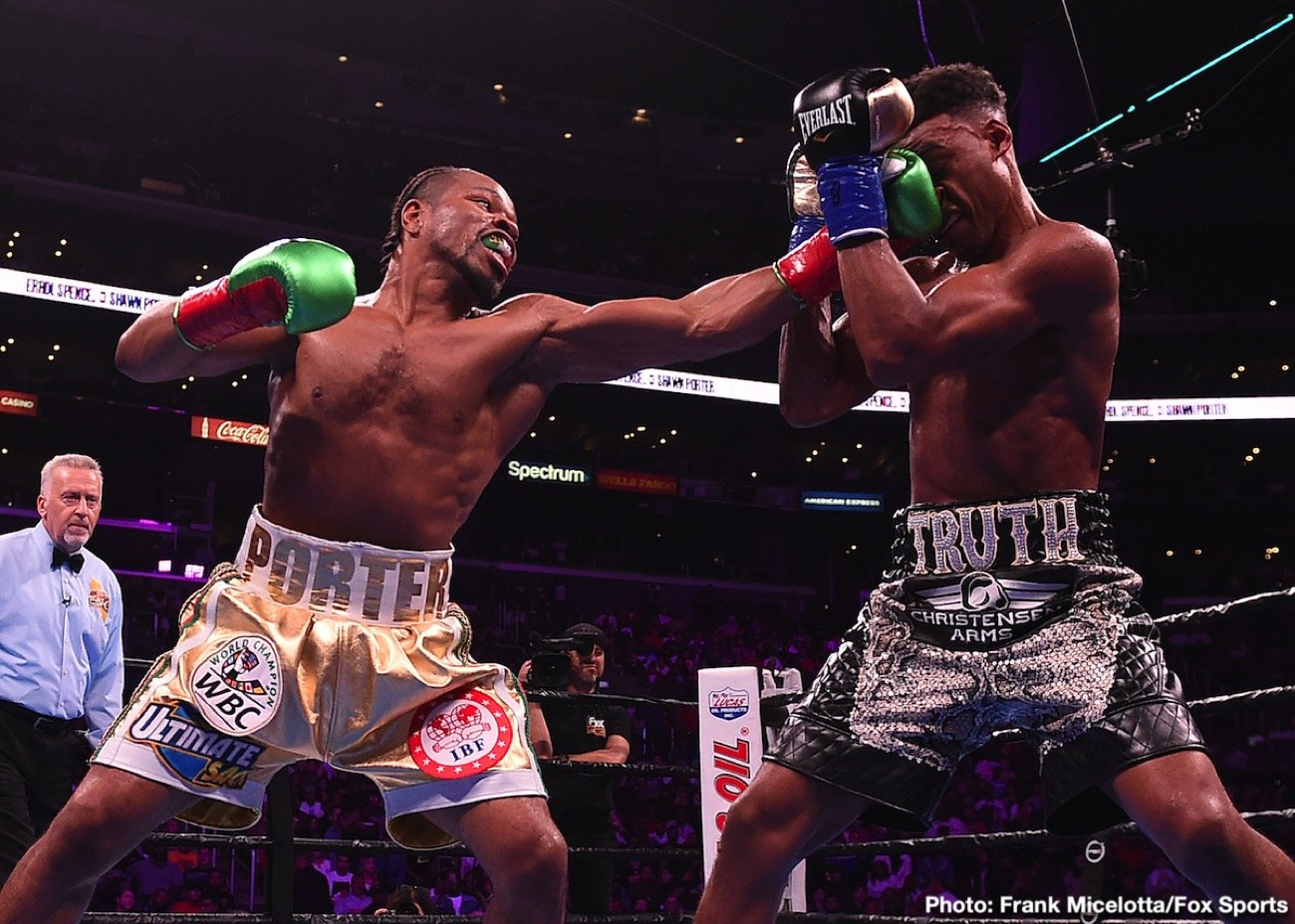 IBF welterweight champion Errol 'The Truth' Spence Jr (26-0, 21 KOs) was forced to fight tooth and nail to defeat WBC champion 'Showtime' Shawn Porter (30-3-1, 17 KOs) by a 12 round split decision on Saturday night in a war at the Staples Center in Los Angeles, California.