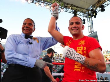 Franchon Crews Dezurn, Jaime Munguia, Maricela Cornejo, Patrick Allotey -  Golden Boy and DAZN successfully continued the tradition of delivering pugilistic action on Mexican Independence Day Weekend as Jaime Munguia (34-0, 27 KOs) scored a fourth-round technical knockout win against Patrick Allotey (40-4, 30 KOs) to make a fifth defense of his WBO Junior Middleweight World Title. The event took place in front of a full crowd of 7,311 boxing fans at Dignity Health Sports Park in Carson, Calif. and was streamed live on DAZN.