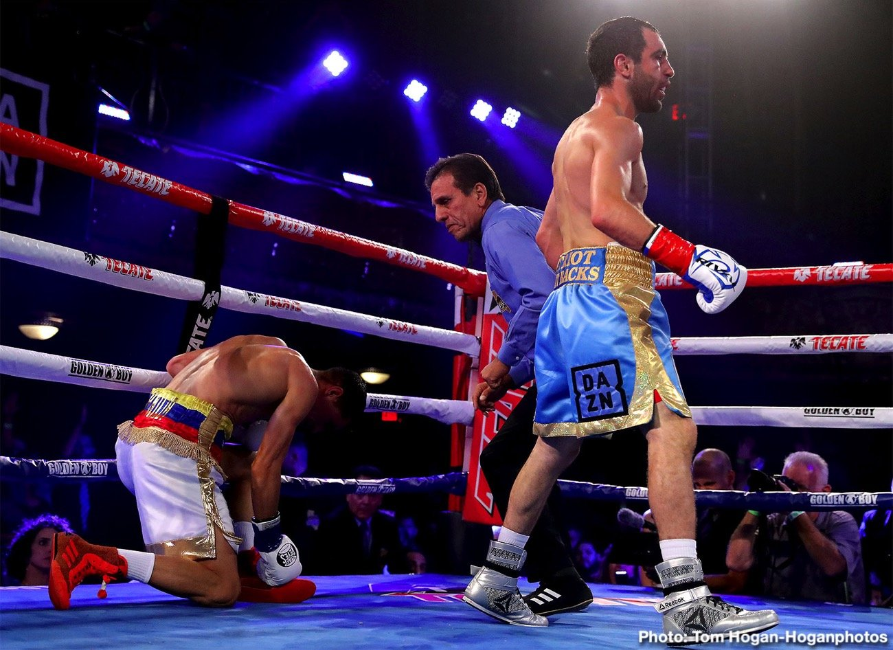 Azat Hovhannisyan, Franklin Manzanilla - Explosive Armenian contender Azat 'Crazy A' Hovhannisyan (18-3, 15 KOs) earned a shot at the WBA Super Bantamweight World Title by defeating Franklin Manzanilla (18-6, 17 KOs) of Caracas, Venezuela via knockout at 2:58 of the fourth round of a scheduled 12-round eliminator fight in the main event of the Sept. 5 edition of Golden Boy DAZN Thursday Night Fights at the Belasco Theater in Los Angeles. The event was streamed live on RingTV.com and on Facebook Watch via the Golden Boy Fight Night Page. The series is also available on regional sports networks around the nation.
