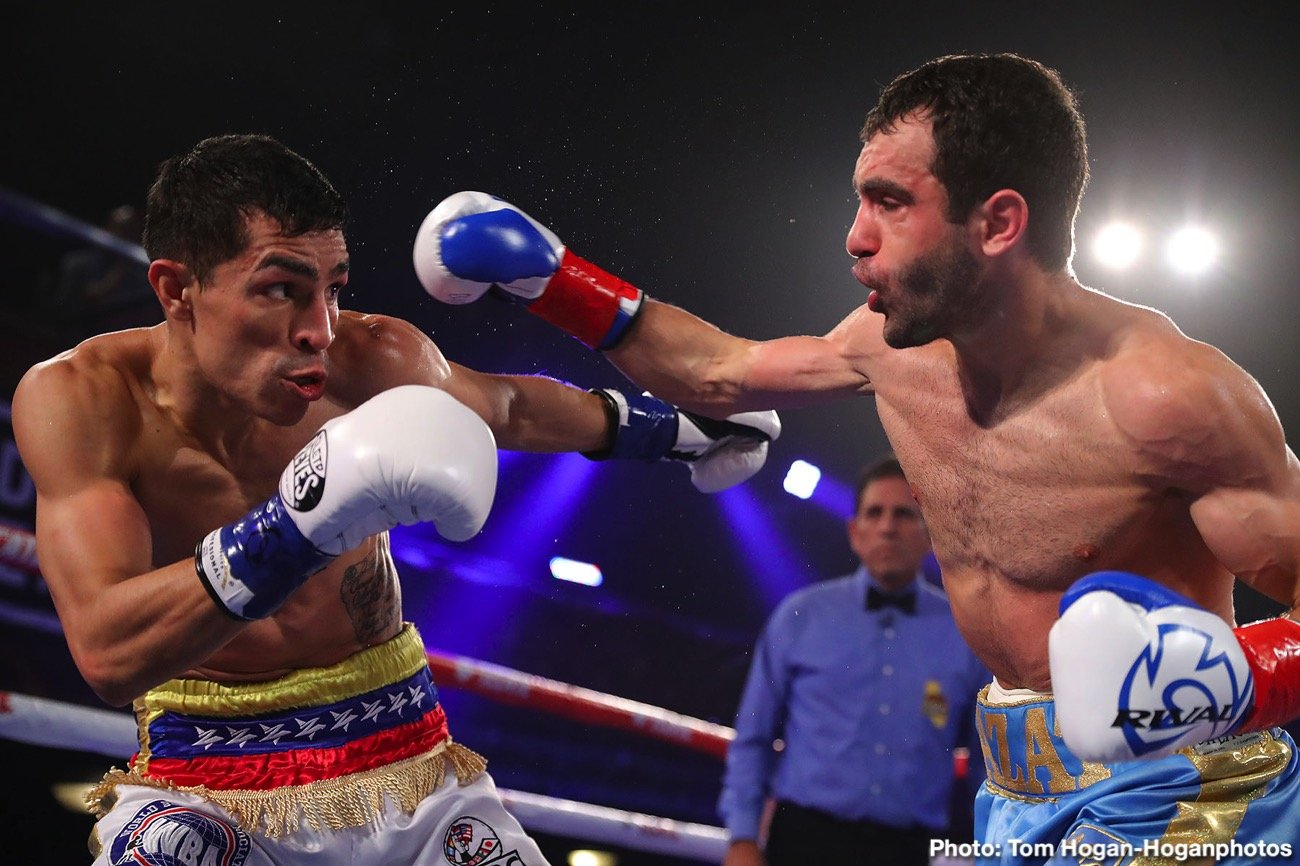 "Azat Hovhannisyan, Jose Sanmartin - Explosive Armenian contender Azat ""Crazy A"" Hovhannisyan (18-3, 15 KOs) has extended his promotional agreement with Golden Boy ahead of his 12-round fight against Jose Sanmartin (30-5-1, 20 KOs) of Barranquilla, Colombia for the vacant WBA Interim Super Bantamweight World Championship. The fight will take place on the stacked undercard of Ortiz Jr. vs. Vargas on Saturday, March 28 at the ""Fabulous"" Forum in Inglewood, California and will be streamed live exclusively on DAZN."