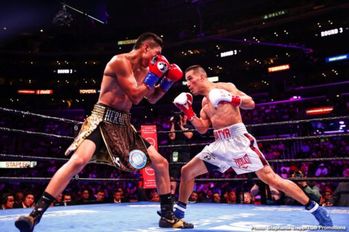 "Joey Spencer, Mario Barrios, Robert Guerrero -  Mario ""El Azteca"" Barrios (25-0, 16 KOs) scored a close unanimous decision victory over Batyr Akhmedov (7-1, 6 KOs) to capture the WBA Super Lightweight title in an action packed fight."