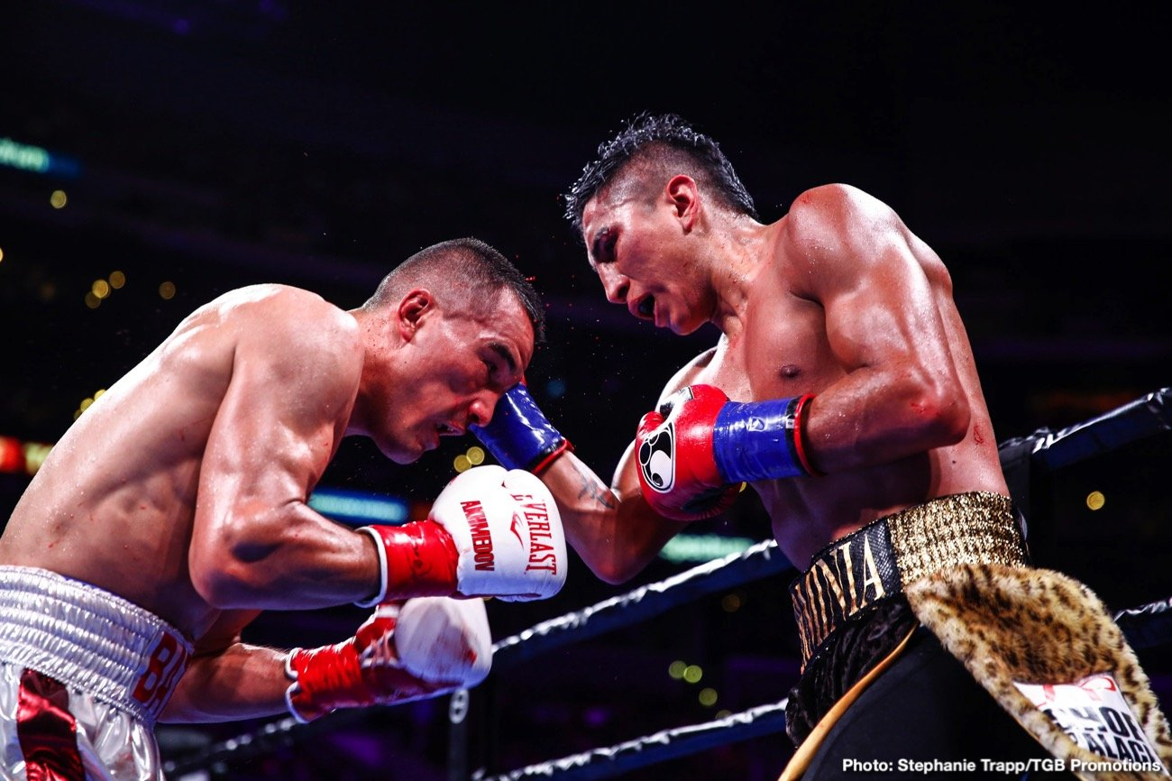 "Robert Guerrero -  Mario ""El Azteca"" Barrios (25-0, 16 KOs) scored a close unanimous decision victory over Batyr Akhmedov (7-1, 6 KOs) to capture the WBA Super Lightweight title in an action packed fight."