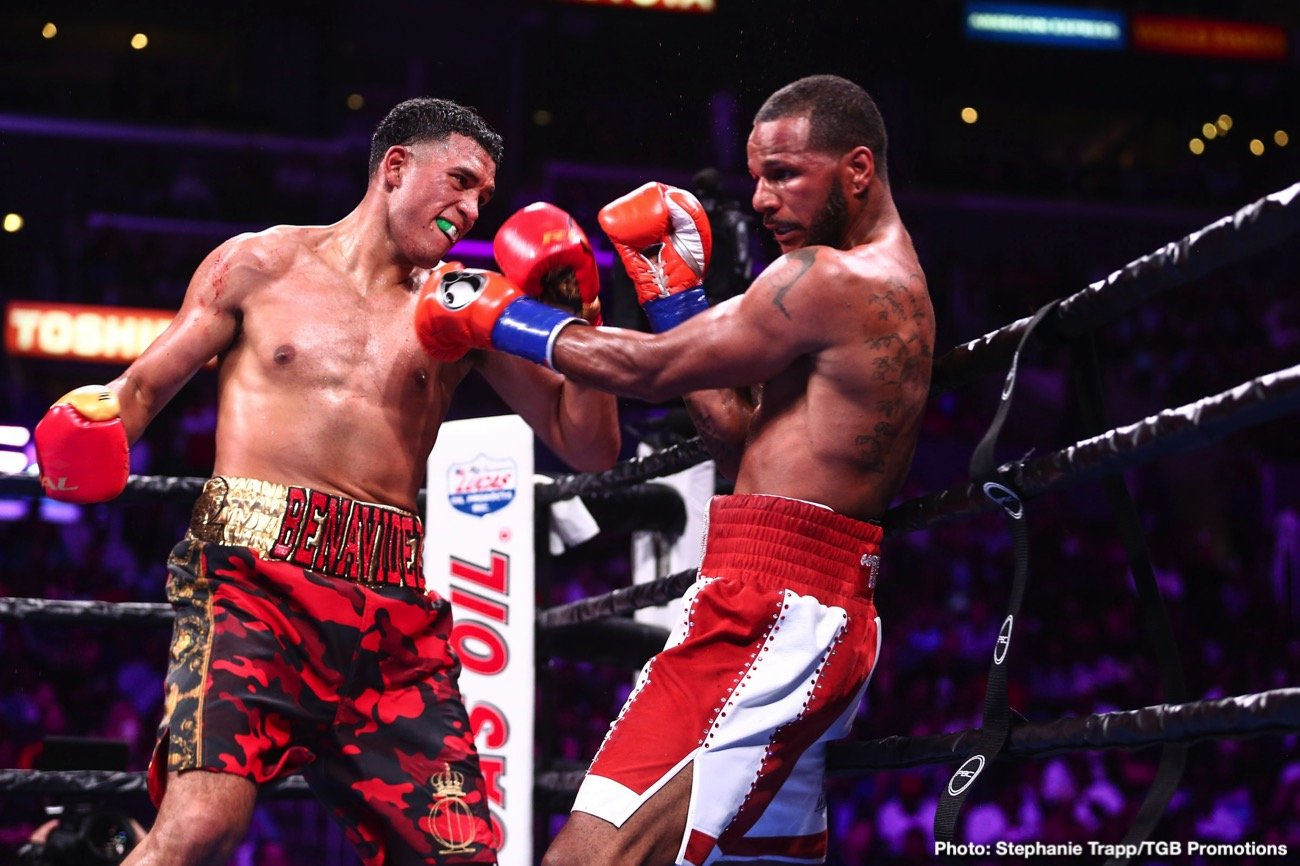 "David  Benavidez (22-0, 19 KOs) regained the WBC Super Middleweight World Championship from two-time champion Anthony ""The Dog"" Dirrell (33-2-1, 24 KOs) with a ninth-round TKO victory."