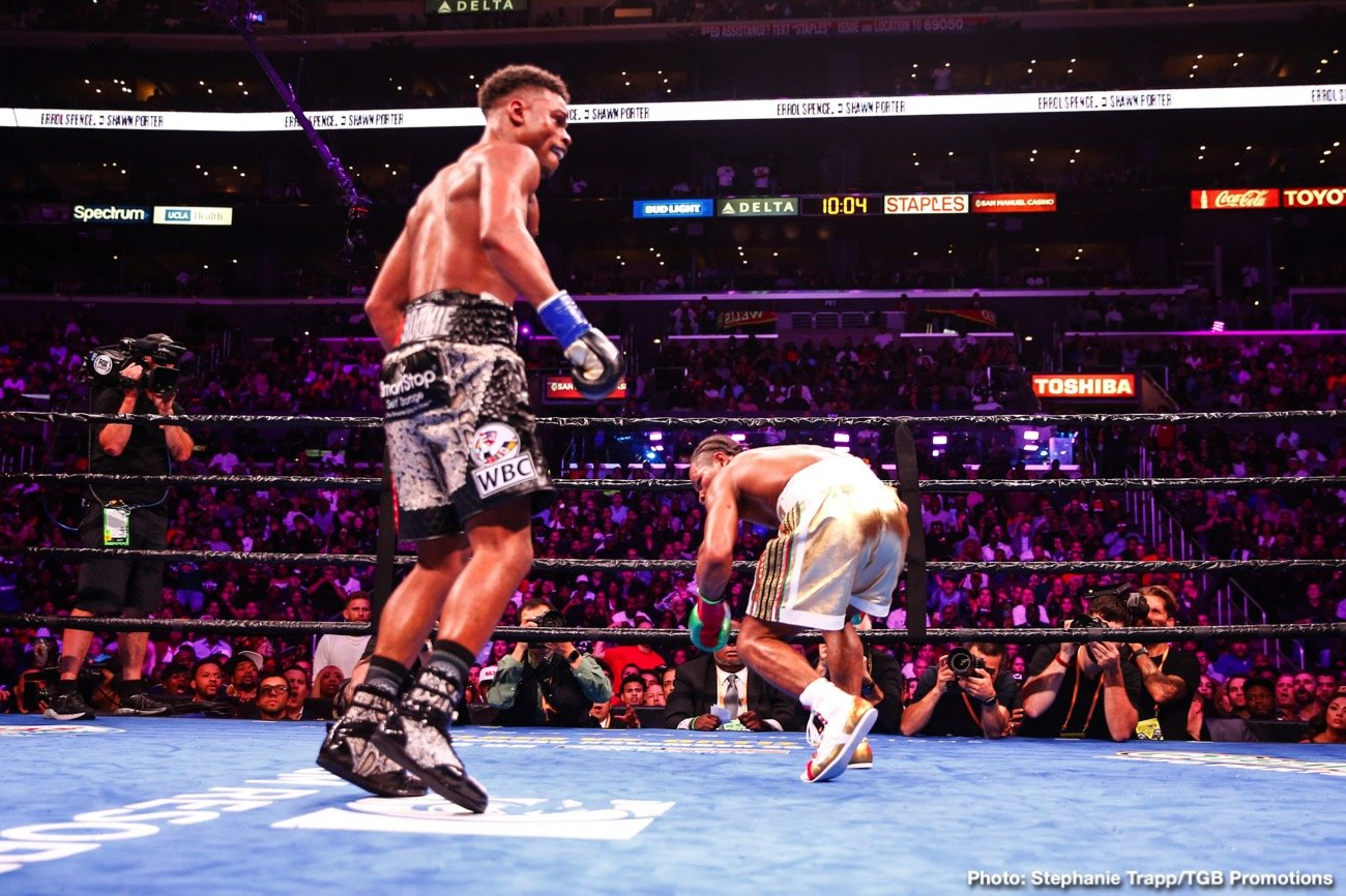 """Errol Spence, Shawn Porter, Terence Crawford - Errol Spence Jr. says he's not """"worried"""" about fighting WBO welterweight champion Terence Crawford yet after beating WBC champ Shawn Porter by a 12 round split decision last Saturday night on FOX Sports PPV at the Staples Center in Los Angeles, California. Spence (26-0, 21 KOs) fought Porter's fight for 12 rounds, and came out on top by the scores 116-111, 116-111 for Errol, and 115-112 or Porter."""