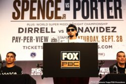Batyr Akhmedov, Errol Spence, Joey Spencer, John Molina, Josesito Lopez, Mario Barrios, Robert Guerrero, Shawn Porter - Fighters competing in FOX Sports PBC Pay-Per-View and Prelims on FS1 and FOX Deportes action went face-to-face Thursday at a final press conference before they compete in action this Saturday, September 28 from STAPLES Center in Los Angeles.