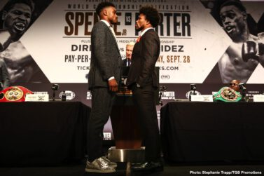 Anthony Dirrell, David Benavidez, Errol Spence, Shawn Porter - IBF Welterweight World Champion Errol Spence Jr. and WBC Welterweight Champion Shawn Porter had an intense faceoff at Wednesday's final press conference before they headline a FOX Sports PBC Pay-Per-View this Saturday, September 28 at STAPLES Center in Los Angeles.