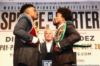 Anthony Dirrell - IBF Welterweight World Champion Errol Spence Jr. and WBC Welterweight Champion Shawn Porter had an intense faceoff at Wednesday's final press conference before they headline a FOX Sports PBC Pay-Per-View this Saturday, September 28 at STAPLES Center in Los Angeles.