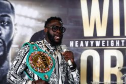 """Deontay Wilder, Leo Santa Cruz, Luis Ortiz, Miguel Flores - WBC Heavyweight World Champion Deontay """"The Bronze Bomber"""" Wilder and hard-hitting Cuban slugger Luis """"King Kong"""" Ortiz went face to face on Saturday at a press conference to officially announce their highly anticipated rematch that headlines a FOX Sports PBC Pay-Per-View Saturday, November 23 at the MGM Grand Garden Arena in Las Vegas."""