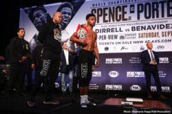 Anthony Dirrell, David Benavidez, Errol Spence, Shawn Porter - IBF welterweight champion Errol Spence Jr. (25-0, 21 KOs) came in at a drained looking 147 pounds at the weigh-in for his unification match against WBC champion Shawn Porter (30-2-1, 17 KOs) this Saturday evening. Porter also weighed in at 147 pounds. Spence-Porter will be shown on Fox Sports PPV at the Staples Center in Los Angeles, California.